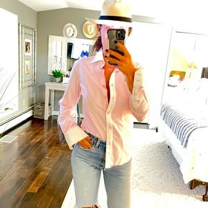 Jared Lang pink white fitted button down shirt SM